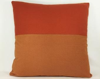"20"" x 20"" Designer Artisan Throw Pillow Orange Tangerine Felted Wool Textured Retro Modern Beach Contemporary Mid Century Urban Eclecticv"