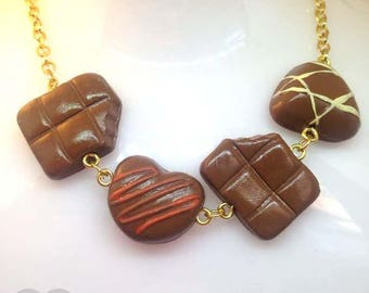 Chocoholic statement necklace! Chocolate piece chocolatier necklace by Toxic Heart Designs / Food - Jewelry - Candy - Necklace - Accessories