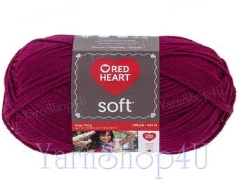 BERRY 5oz Red Heart Soft Yarn. A Solid Burgundy color medium worsted weight. 100% Soft Acrylic Yarn in a large ball. 256yd | 5oz No Dye Lot.