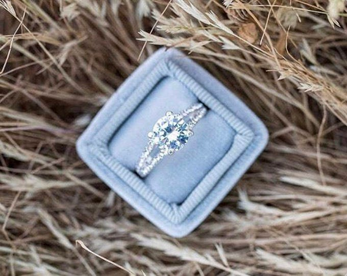 Featured listing image: Ring Box Vintage Inspired Silver Dove Grey Velvet and Matching Ribbon Ring Box Perfect For Weddings