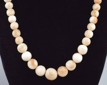 Vintage Angel Skin Coral Color M.O.P. Conch Shell Beads Necklace - 55 Grams
