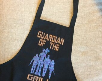 Guardian of the Grill / Embroidered apron / Customization avaliable