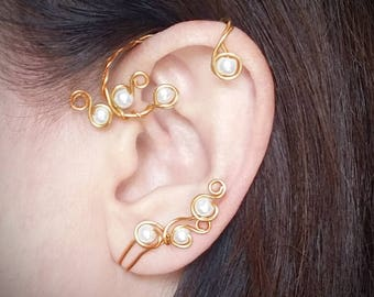 Beauty and the Beast Inspired Ear Cuff Belles Ear Wrap Pearl Vine