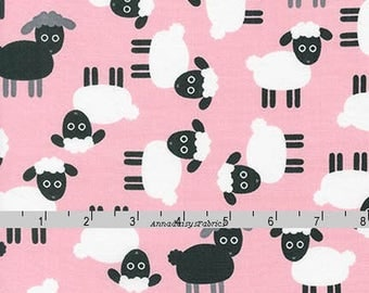 Pink Sheep Fabric, Ann Kelle, Robert Kaufman 16485 107 Petal, Urban Zoologie, Lamb Quilt Fabric, Black Sheep, Spring & Easter Fabric, Cotton
