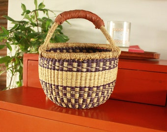 "Mini Bolga Storage Braided Basket Elephant Grass&Leather. Purple. Ethical/Eco/Fairtrade. 10"" x 9""  Made in West Africa. Free world shipping."