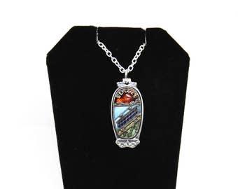 norway necklace, bergen necklace, tram necklace, vintage necklace, norwegian necklace
