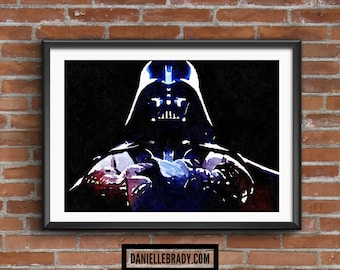 Darth Vader Star Wars Digital Art Watercolour Printable Art Downloadable Print