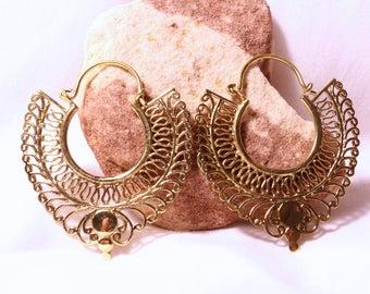 Handmade Brass Earrings, Hoop Earrings, Fake Plugs, Tribal Style - Egyptian Hoops