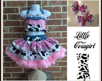 Semi Glitz Costume,  Cowgirl,  Western , Rodeo skirt and top