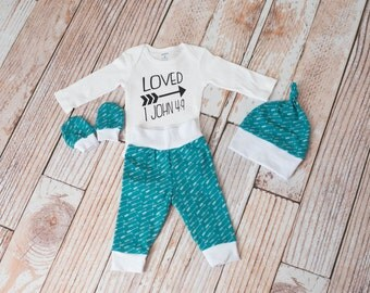 Newborn Coming Home Baby Arrows and Teal Bodysuit, Hat, Scratch Mittens Set with White+Loved Bible Verses Bodysuit