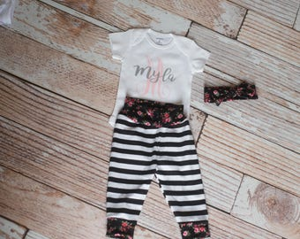 Personalized Floral Pants Set with Name Bodysuit