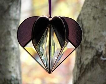 Stained Glass Heart Purple, stained glass suncatcher, purple heart, bevel heart, heart ornament,