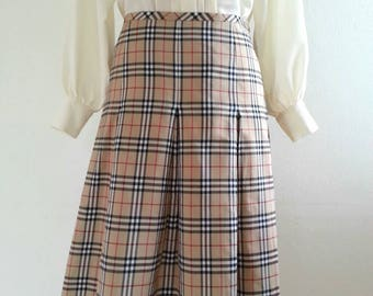 Vintage Nova Check Burberry Skirt || Mid-Calf Pleated Skirt