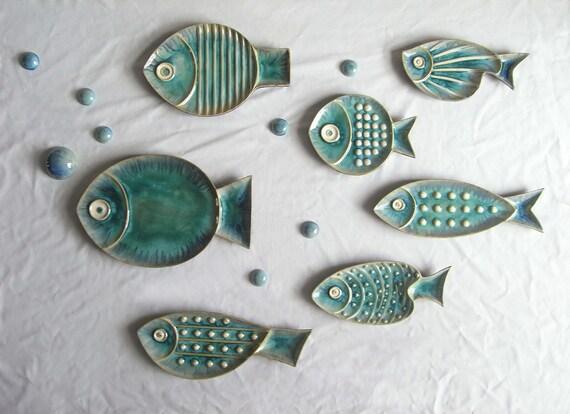 Ceramic starfish fish shaped decorative hanging plates decor for Fish shaped plates