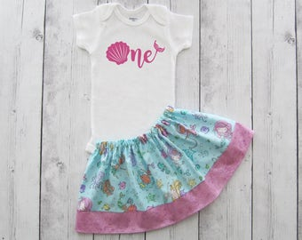 Mermaid First Birthday Outfit in pink aqua mermaid print -under the sea,girl birthday outfit, shell one, mermaid birthday