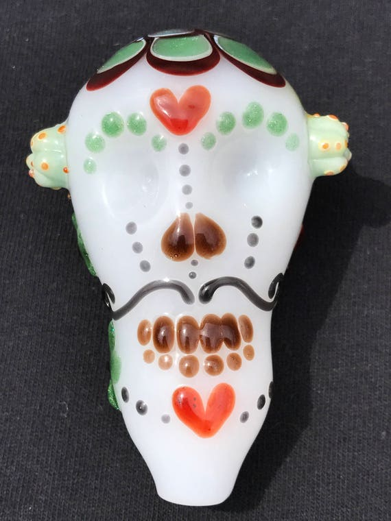 Glass Pipe Sugar Skull