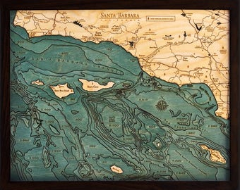 Santa Barbara / Channel Islands Wood Carved Topographic Depth Chart / Map