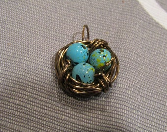 Made to order Bird nest and egg charm