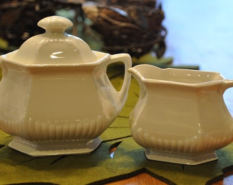 Vintage Ironstone Cream and Sugar set - Adams, Member of Wedgewood Group - Made in England