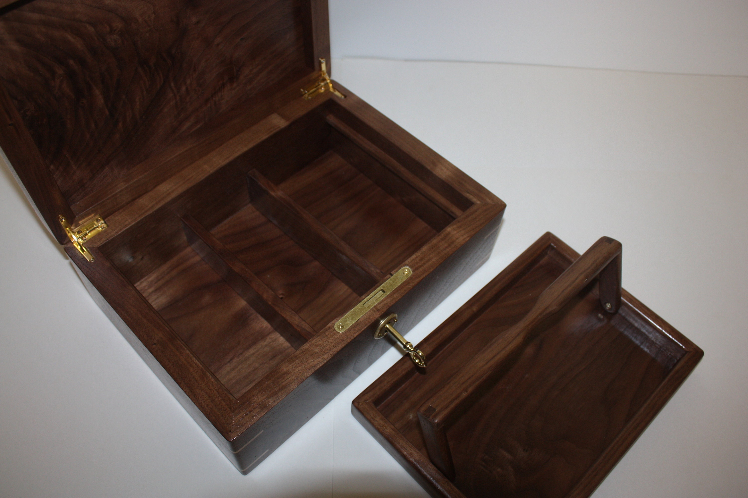 Walnut Box with Lift out tray and dividers