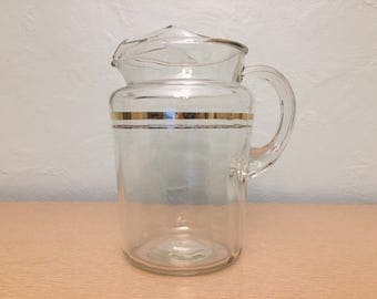25% SALE *** Bartlett Collins Large Glass Pitcher with Gold Double Stripe