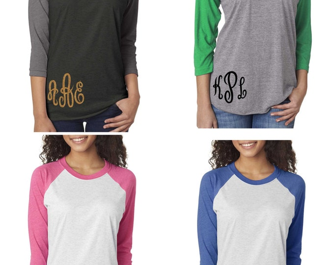 Monogrammed Shirts .  Set of 6 Monogram shirts . ladies 3 initial monogram shirts - baseball t-shirts , 3/4 sleeves, glitter monogram