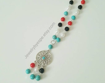 Dream Catcher Necklace Turquoise Red White Pearl Black Statement Silver Long Boho Necklaces Bohemian Layering Long and Layered Gift for her