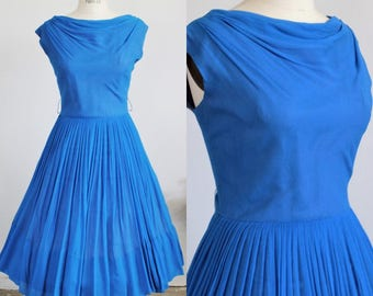 Vintage 1950s New Look Party Dress Blue Chiffon / Elinor Gay Fit and Flare Prom Dress / Shawl Collar Pleated Full Circle Skirt Ruched