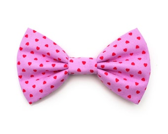 The Cornelia Bow Tie — Dog Bowtie, Pink, Red, Hearts, Heart, Valentine's Day, Brooklyn Bowtied, Girly Love Hearts