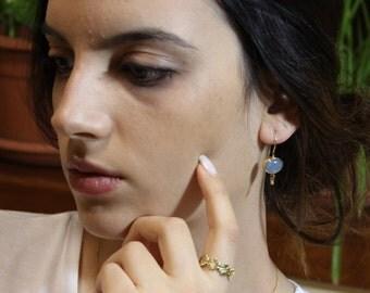 Aquamarine Gold Earrings - Oval Aquamarine Earrings - Dangle Earrings - Long Earrings - Solid Gold Earrings - Fine Earrings - Fine Jewelry
