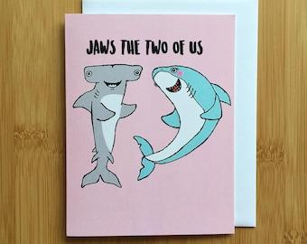 Shark Anniversary Valentines Card - Handmade A2 Hammerhead Shark Valentines Hip Hop Love Card with foiled lettering