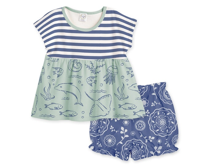 SUMMER SALE! Baby Girl Outfit, Baby Girl Beach Tops Bloomers, Baby Girl Blue Outfit, Newborn Baby Girl Bloomers, Ocean TB020BIUS0000
