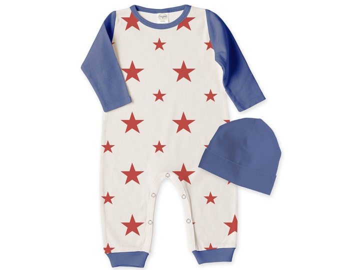 Baby 4th of July Outfit, Newborn Coming Home Outfit Summer, Baby Unisex Romper, Baby Stars Stripes Bodysuit Red Blue Tesababe RC810SSIO0000