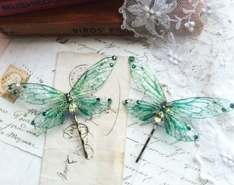 NEW Pretty forest green Faerie wing hair adornment