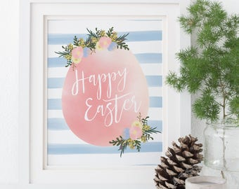 Happy Easter Print / Printable Easter Decor / Easter Wall Art Print / Easter Table Decorations / Floral Watercolour Botanical Print DIY