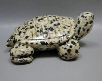 Turtle Carving Dalmatian Jasper Small Carved Animal Healing Stone Fetish Gemstone #e11