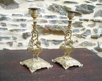 Wonderful Pair of French Bronze Candelabra's/Candlesticks