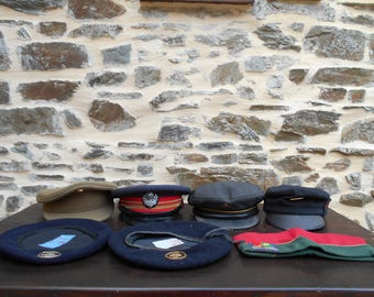 Set of 7 Vintage French Military/Forces/Railway Caps/Beret