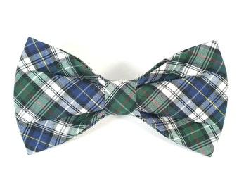 Blue and Green Plaid Dog Bow Tie, pet bow tie, collar bow tie, wedding bow tie