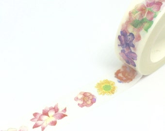 Flowers Watercolour Effect Washi Tape 15mm x 10m