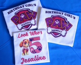 Personalized Paw Patrol Birthday Shirt and parents birthday shirts set of 3