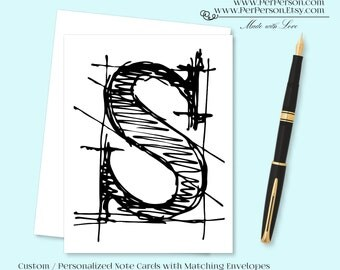 Free Ship!  Set of 12 Personalized / Custom Notecards, Boxed, Blank Inside, Sketch, Scribble, Drawing, Monogram, Name, Initials