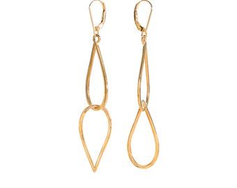 14KY Gold Medium Double Waterdrop Earring