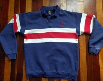 Vintage 90s USA Red White Blue Color Block V Neck Collared Sweatshirt Large