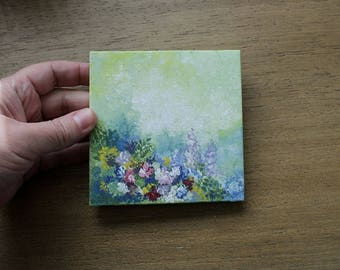 Miniature Painting, Flower Painting, Floral Art, Canvas Painting, Spring Decor, Garden Art, Impressionist Painting, Summer Home Decor