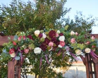 Bohemian Wedding Arch, Wedding Archway Swag, Wedding Ceremony Swag, Wedding Arch flowers, Bohemian Arch, Coral Arch, Mantle Swag