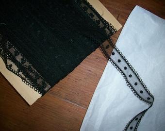 """black  5/8"""" wide silk lace point de esprit dots"""
