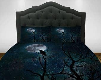 Gothic Bedding, Duvet Comforter Cover Set, Raven, Crow , Tree Moon, Night Sky Twin, Queen, King