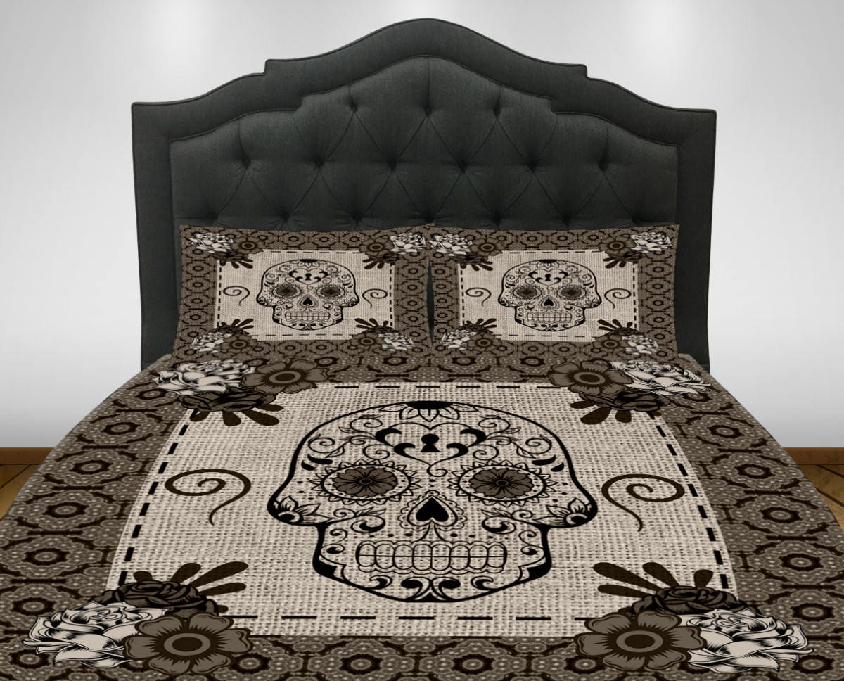Skull Bedroom Decor Items Similar To Gothic Bedding Skulls Raven Crow Floral Grunge