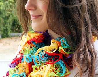 Frilly scarf crocheted Blue Red, Colorful, Beige Grey Black